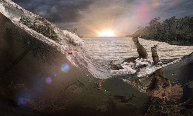 Una ricostruzione dell'onda che per gli autori dello studio avrebbe spazzato via la vita acquatica e terrestre a Tanis, North Dakota. Accadde forse una decina di minuti dopo l'impatto di Chicxulub.|Robert DePalma