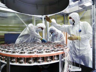 Una fase della costruzione di Xenon1T. Crediti: Infn