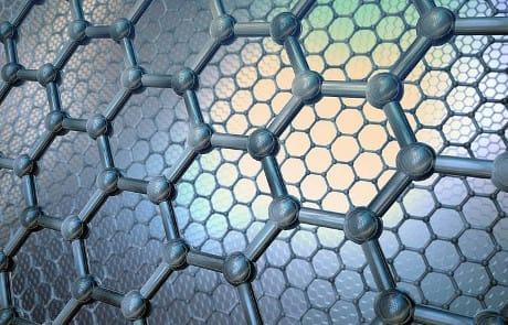 illustrazione della struttura microscopica del grafene, costituita da soli atomi di carbonio disposti in un reticolo di esagoni (Ikon Image / AGF)