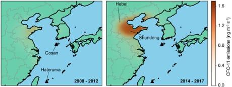 Il confronto fra le emissioni di CFC in Cina orientale nel periodo 2008-2012 (sinistra) e 2014-2017 (destra) indica un netto aumento. (University of Bristol )