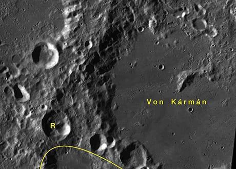 II cratere Von Kármán, dov'è avvenuto l'atterraggio di Chang'e-4 (Wikimedia Commons)