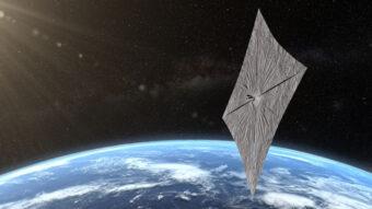La navicella spaziale LightSail 2 con le quattro vele triangolari dispiegate. Crediti: Josh Spradling / The Planetary Society