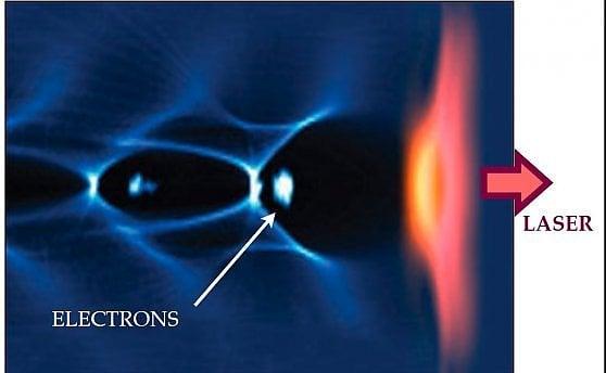 Un'immagine reale della nuvola di elettroni che segue l'impulso laser
