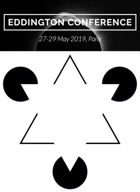 In alto, il banner del convegno di Parigi. In basso, il celebre triangolo di Kanizsa, un esempio di illusione ottica basata sulla Gestalt