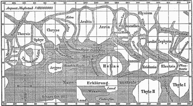 Mappa di Marte creata da Giovanni Schiaparelli (1877).Credito: Wikipedia Commons