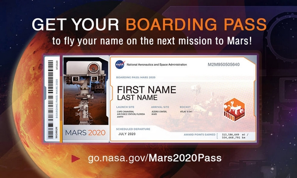 Get you boarding pass to mars