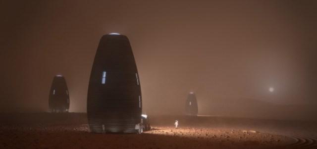 Concetto per un habitat marziano stampato in 3-D. Credito: NASA / AI SpaceFactory