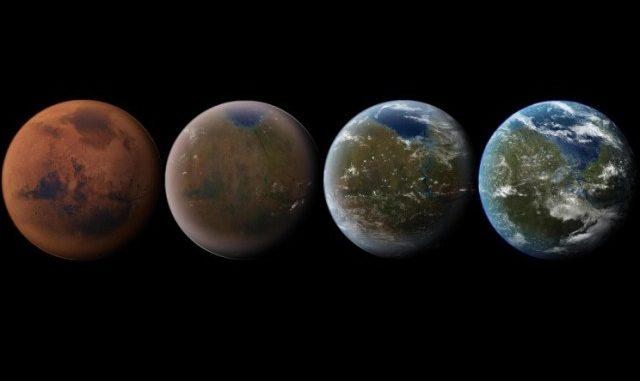Le fasi della terraformazione di Marte. Credit: Daein Ballard