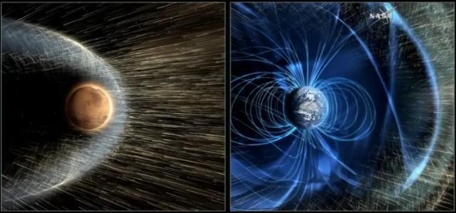 Visualizzazione di Marte (a sinistra) e del campo magnetico terrestre (a destra).Credito: NASA / GSFC