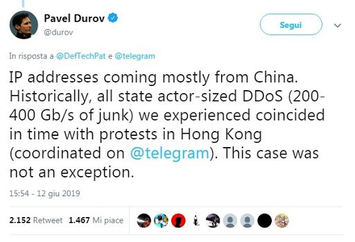 Hong Kong/ Scontri Hong Kong, da Cina attacco hacker a Telegram