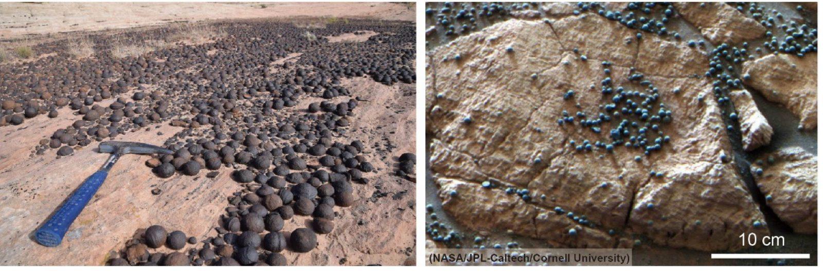 Formazioni sferiche di ematite terrestri (sinistra) e marziane (destra).