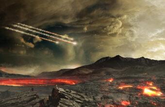 Rappresentazione artistica della Terra primordiale bombardata da meteoriti. Crediti: Nasa's Goddard Space Flight Center Conceptual Image Lab