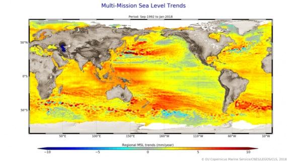 Una mappa globale dei trend di innalzamento del livello dei mari. | Esa