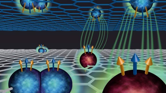 Negli stati esotici appena scoperti le quasiparticelle denominate fermioni compositi interagiscono tra gli strati di grafene strettamente distanziati (credito: Michelle Miller)