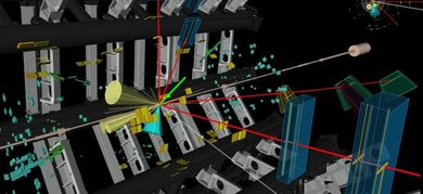 Illustrazione delle tracce generatesi all'interno di ATLAS dopo le collisioni tra protoni (ATLAS Collaboration/CERN)