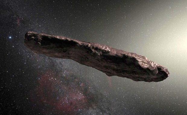 Rappresentazione artistica di 'Oumuamua, dela quale è stata accertata la natura di cometa (fonte: ESO/M. Kommesser)