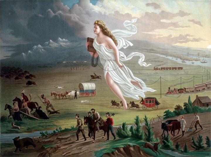 American Progress (dipinto di John Gast). La conquista del West: nel dipinto l'avanzata dei coloni, da destra verso sinistra, rispecchia la progressiva presa di possesso dei territori dall'Atlantico al Pacifico. Davanti ai carri, alla ferrovia, agli agricoltori e ai cacciatori che avanzano, fuggono i bisonti, i nativi, i lupi: il progresso è inarrestabile, inevitabile, guidato dalla virtù e dalla convinzione di agire in nome di Dio (click all'immagine in alta risoluzione).|Biblioteca del Congresso degli Stati Uniti, via WikiMedia