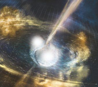 Illustrazione artistica di due stelle di neutroni che si fondono. Crediti: Nsf/Ligo/Sonoma State University/A. Simonnet