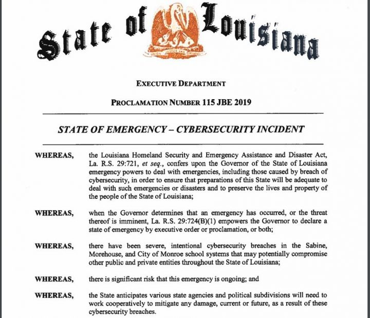 Stato of Luisiana - state of emergency - cybersecurity incident