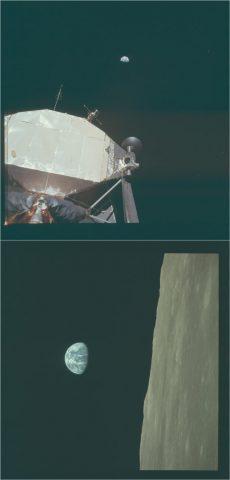 Le foto AS11-40-5923 e AS11-44-6564 della Missione Apollo 11. Cliccare per ingrandire