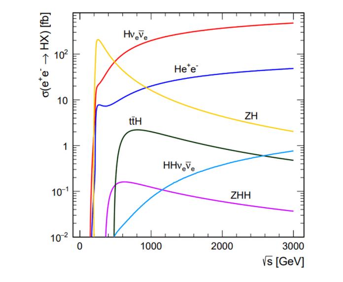 Alle varie energie del centro di massa nei collettori di elettroni / positroni (leptoni), vari meccanismi di produzione di Higgs possono essere raggiunti a energie esplicite. Mentre un collisore circolare può ottenere tassi di collisione e tassi di produzione molto più alti di particelle W, Z, H e t, un collisore lineare abbastanza lungo può raggiungere energie più elevate, permettendoci di sondare i meccanismi di produzione di Higgs che un collisore circolare non può raggiungere.Questo è il vantaggio principale dei collisori di leptoni lineari; se sono solo a bassa energia (come l'ILC proposto), non c'è motivo per non farli circolari. – H. ABRAMOWICZ ET AL., EUR.PHYS.J. C 77, 475 (2017)