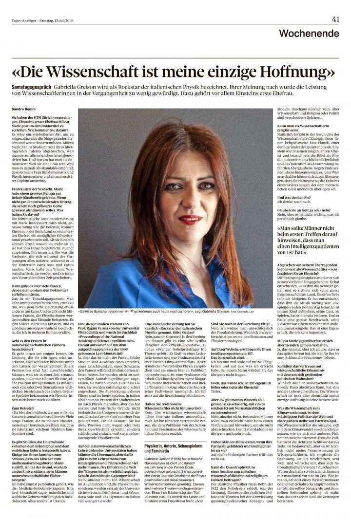 Qui sopra la pagina del Tages-Anzeiger, giornale svizzero pubblicato in tedesco, che racconta della proposta di laurea postuma a Mileva Maric