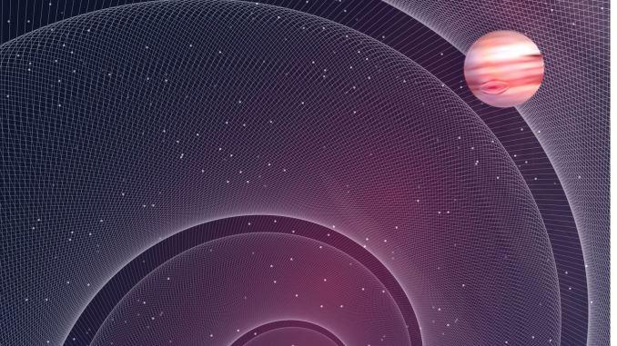 """Rappresentazione artistica di un sistema binario di nane bianche con un esopianeta. Per l'immagine completa <a href=""""https://www.mpg.de/13672408/discovering-exoplanets-with-gravitational-waves"""" rel=""""nofollow"""" data-aalisten=""""1"""">clicca qui</a> (credito: Simonluca Definis)"""