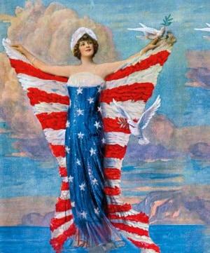 """Come i crociati medievali, gli americani giustificarono i loro eccidi come """"missione divina"""". Nella foto: l'attrice Hazel Down (1891-1988) posa con la bandiera mentre alcune colombe reggono rami d'ulivo."""