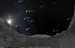 Il cielo sul Mare della Tranquillità durante il Moonwalking (02:56 UT). Crediti: Giangiacomo Gandolfi/Stellarium. Cliccare per ingrandire
