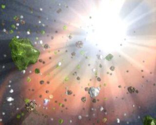 Rappresentazione artistica di gas e polveri spazzate via dai violenti getti emessi da un quasar. Crediti: Nasa/Jpl-Caltech.