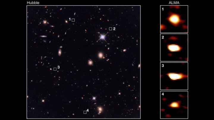 Il telescopio a infrarossi lontani Atacama Large Millimeter / submillimeter Array ha chiaramente immaginato galassie (1-4) che erano invisibili in questa immagine dal telescopio spaziale Hubble, che vede in lunghezze d'onda ottiche più brevi. L'Università di Tokyo / CEA / NAOJ
