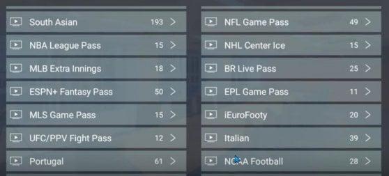 Il menu della pay-tv illegale