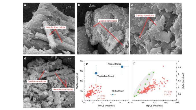 Alcuni di carbonati analizzati dai ricercatori (a-d) e diagrammi incrociati di rapporti Mn/Ca e Mg/Ca di campioni di carbonato finemente disseminati (FDC) in questo studio (punti rossi), confrontati con carbonati dannosi da potenziali regioni di origine (quadrati blu) (credito: Nature Communications 10, DOI: 10.1038/s41467-019-12357-5)