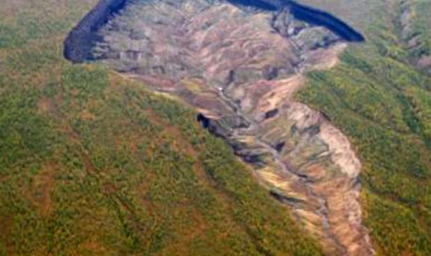 Il cratere di Batagaika nella taiga della Siberia nordorientale Screenshot YouTube/Daily News