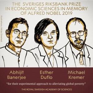 Nobel economia 2019, il premio a Abhijit Banerjee, Esther Duflo e Michael Kremer.