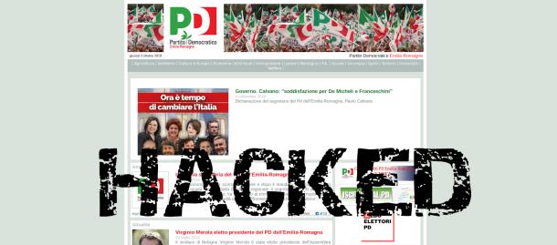 Sito web del PD hackerato da anonymous Italia