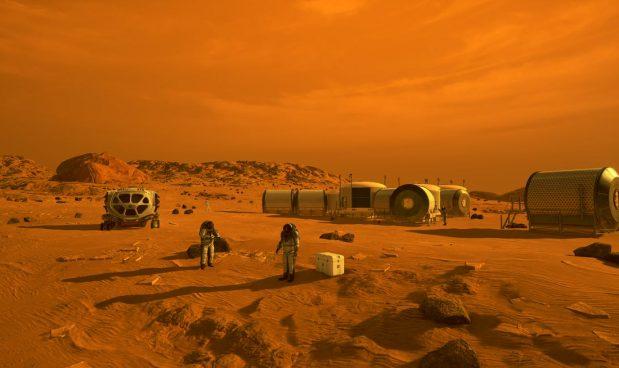Una raffigurazione di astronavi e abitanti umani su Marte. NASA