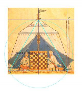 """Fig. 3: Miniatura """"scacco al re"""". Il triangolo equilatero."""