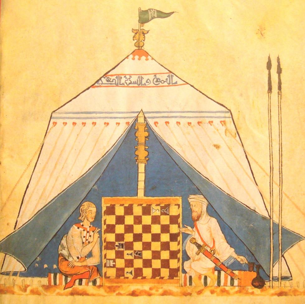 Fig. 1: Miniatura raffigurante un cristiano e un musulmano che giocano a scacchi in al-Andalus (Spagna islamica), dal libro dei giochi di Alfonso X di Castiglia, 1285. Il gioco degli scacchi ha origini indiane, ma è stato introdotto in Europa dagli Arabi. [Lebedel, p.109]