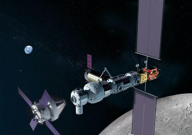 Rappresentazione artistica della stazione spaziale Gateway, nell'orbita lunare (fonte: NASA)