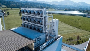 L'impianto industriale sperimentale della Climeworks, in Svizzera, per la cattura e la conversione di anidride carbonica atmosferica. | Climeworks