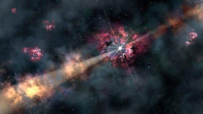 Si ritiene che uno scoppio di raggi gamma, come quello rappresentato nella figura sopra, provenga da una densa regione di una galassia ospite circondata da una grande conchiglia, sfera o alone di materiale. Quel materiale avrà una velocità della luce inerente a quel mezzo e le singole particelle che lo attraversano, sebbene sempre più lente della velocità della luce nel vuoto, potrebbero essere più veloci della velocità della luce in quel mezzo. – GEMINI OBSERVATORY / AURA / LYNETTE COOK
