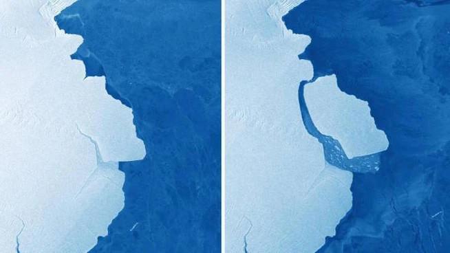 Un gigantesco iceberg, D-28, grande come Londra, si è staccato dall'Antartide (Ansa)