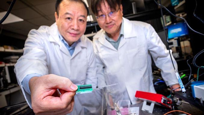 Liu Ai Qun e Kwek Leong Chuan mostrano il loro nuovo cippo quantistico (credito: NTU Singapore)