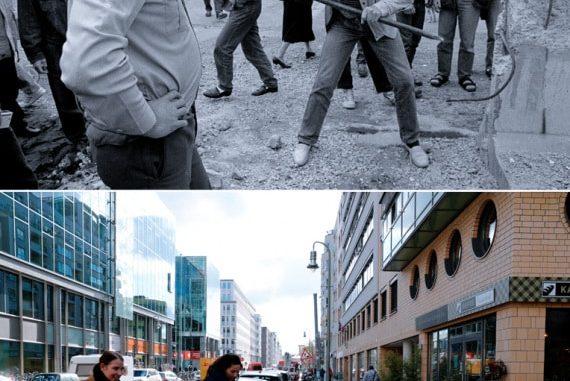La demolizione di una sezione del Muro di Berlino dal lato Est, il 2 giugno 1990, e la stessa strada il 30 ottobre 2019.Vedi anche:le proteste che hanno cambiato la Storia recente.| REUTERS/FABRIZIO BENSCH