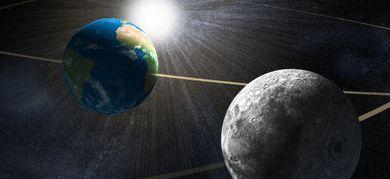 Illustrazione del classico probema a tre corpi: Sole, Terra e Luna (©Science Photo Library / AGF)