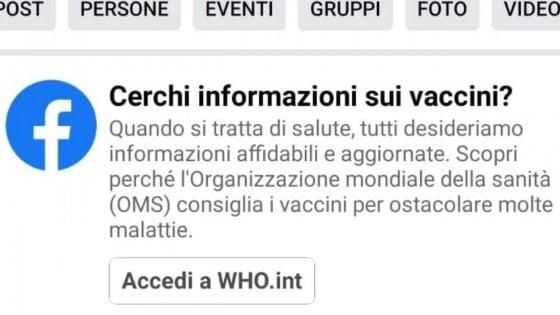Facebook invita a verificare le informazioni dei no-vax