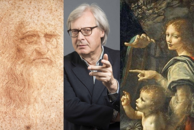 """Da sinistra: il presunto autoritratto di Leonardo, Vittorio Sgarbi, un particolare de """"La vergine delle rocce"""""""