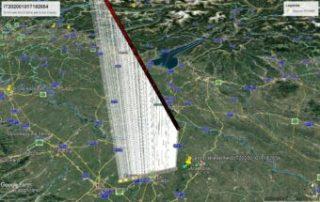 La traiettoria atmosferica del bolide IT20200101-T182654. Il segnaposto giallo segna la zona con la maggiore probabilità di trovare eventuali piccole meteoriti