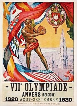 Il Poster delle Olimpiadi del 1920, dipinto da Walter Van der Ven (1884-1923).|